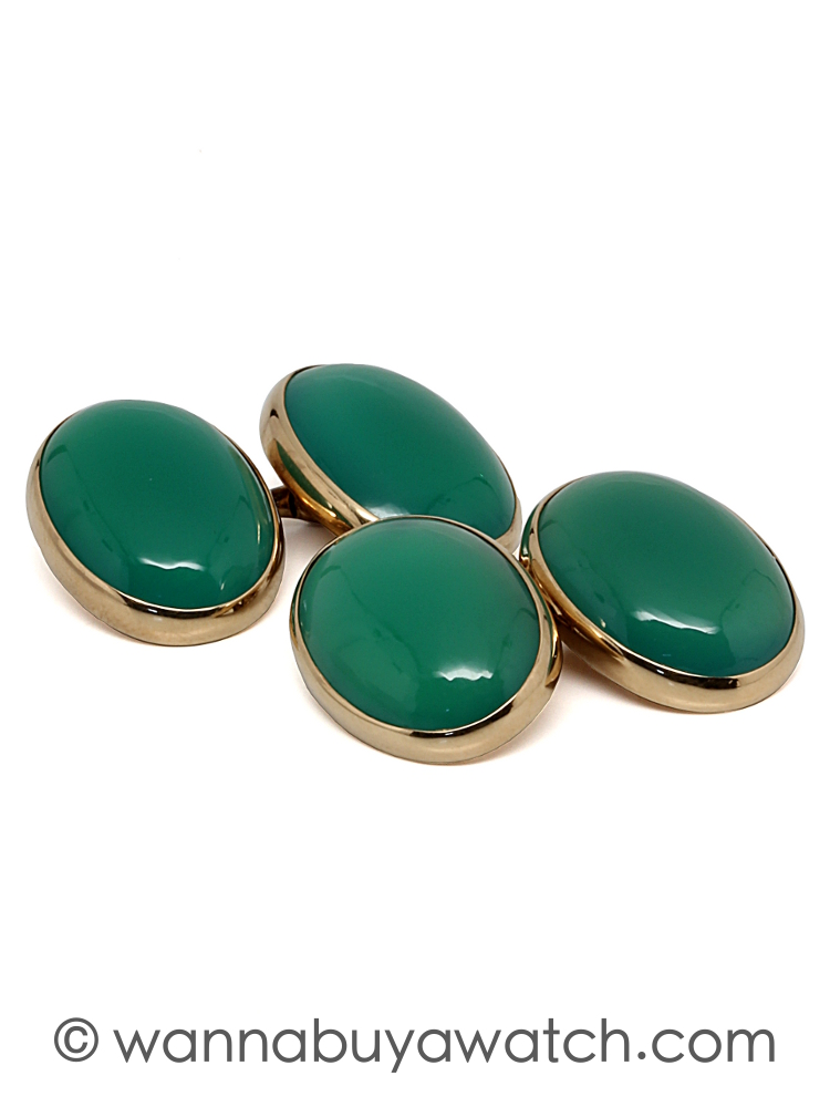 14K Gold & Chrysoprase Cufflinks