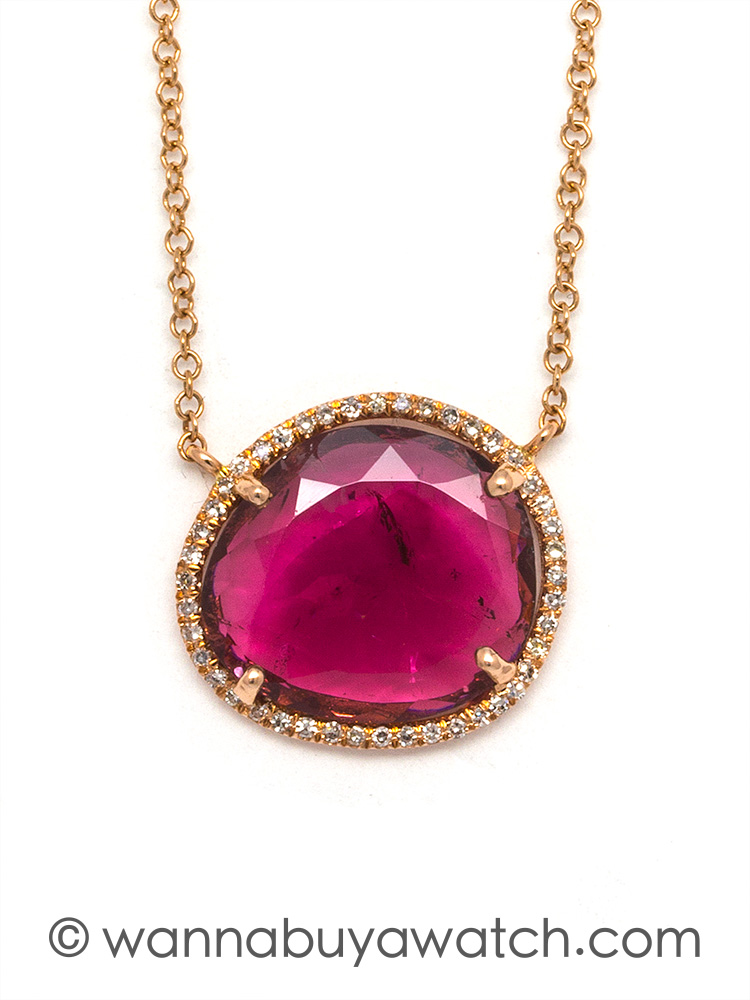 Contemporary 14K Pink Gold & Tourmaline Slice Pendant Necklace