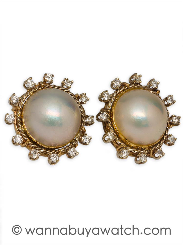 14K YG Mabe Pearl & Diamonds Earrings