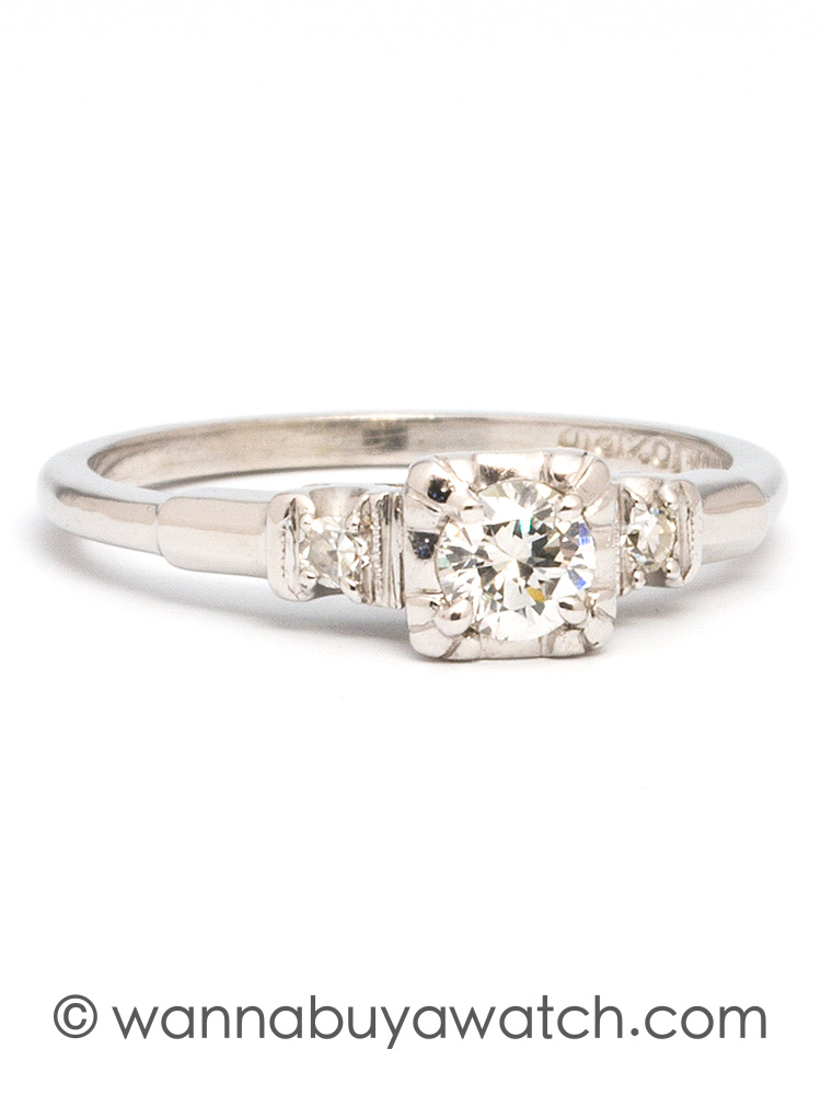 1930's Platinum & 0.35ct OEC Diamond Solitaire