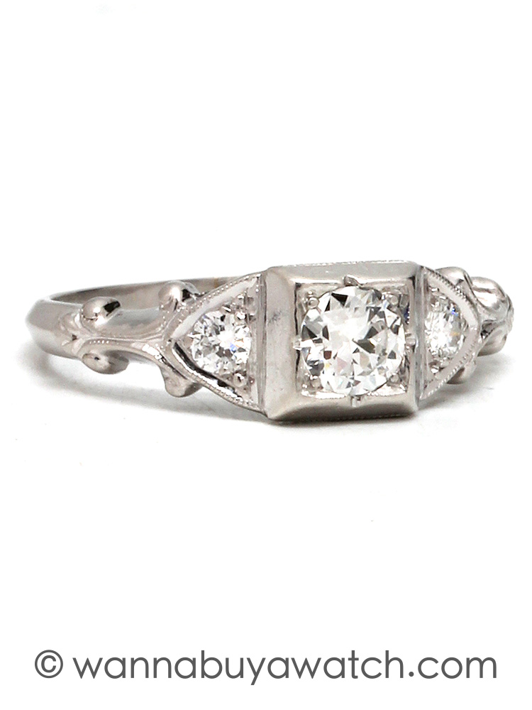 1930's Platinum & 0.30ct Diamond Solitaire