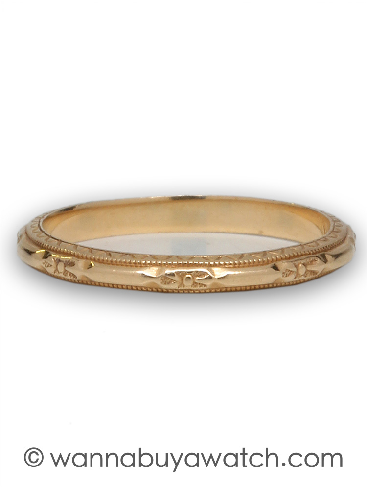 14K Yellow Gold Antique Band Size 5