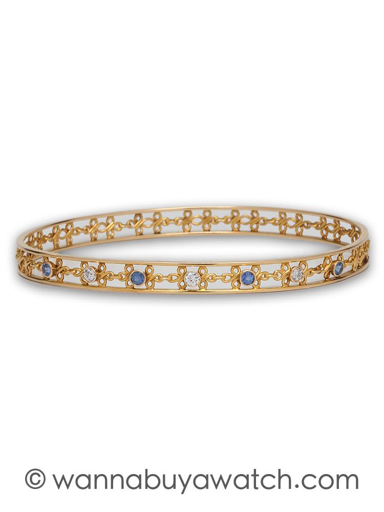 Vintage Sapphire & Diamond 14K YG Bangle Bracelet circa 1930s