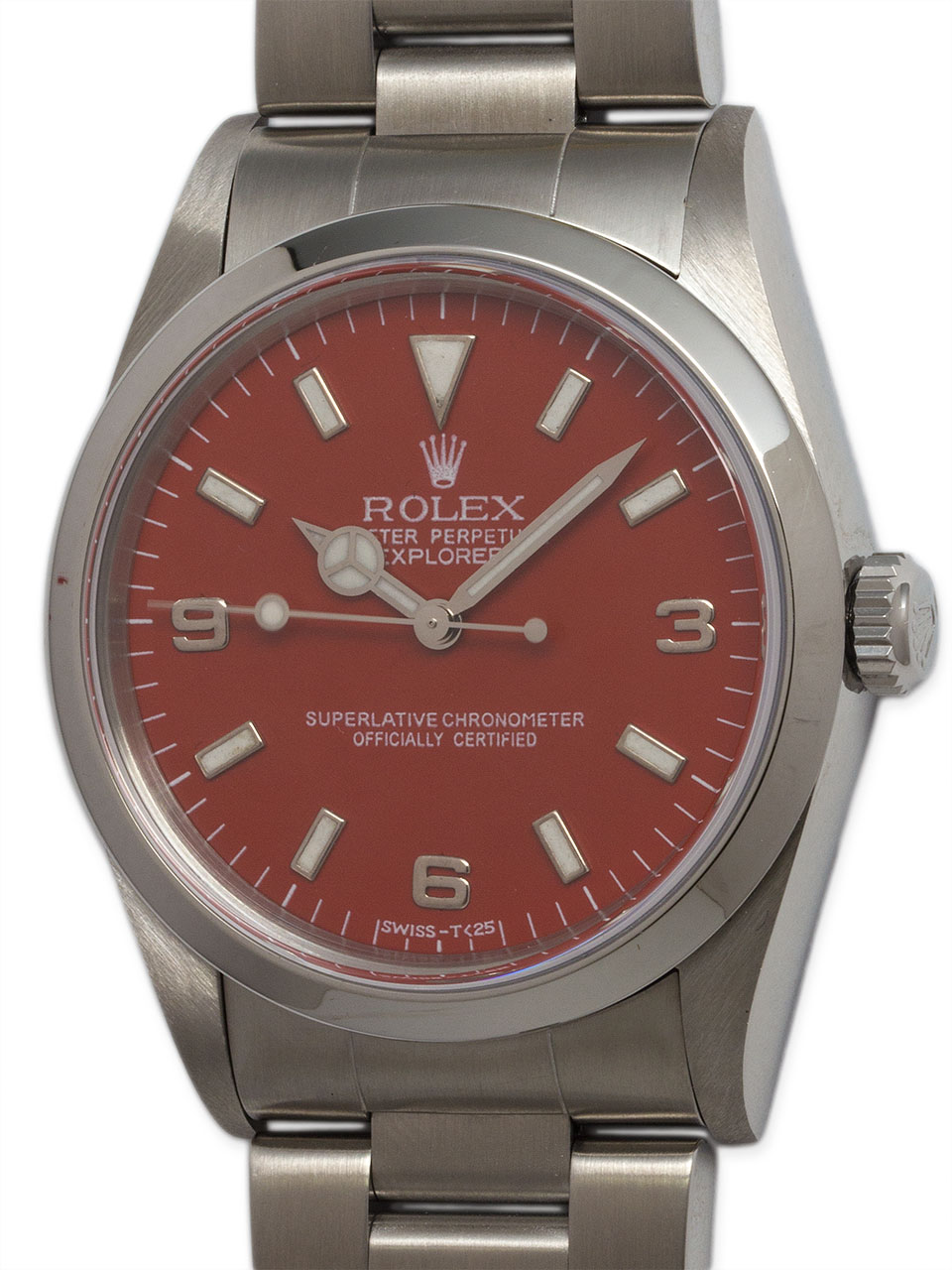 Rolex SS Explorer 1 ref 14270 circa 1998 Apple Red