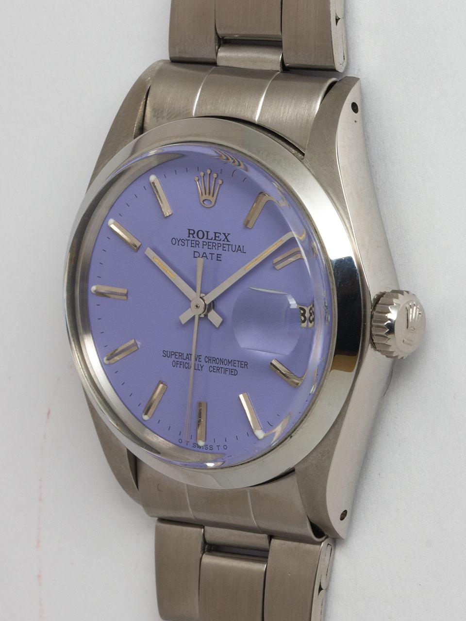 "Rolex SS Oyster Perpetual Date circa 1972 ""Lavender"""