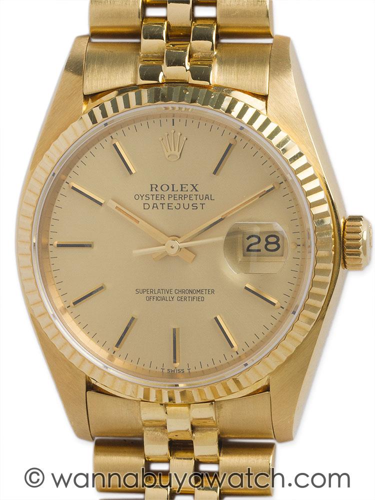 Rolex 18K YG Datejust ref 16238 circa 1980