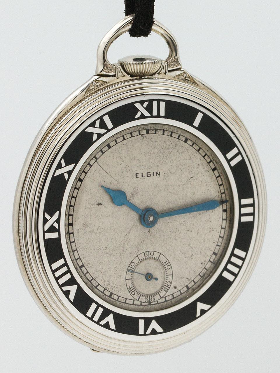 Elgin Pocket Watch Art Deco Enamel circa 1929