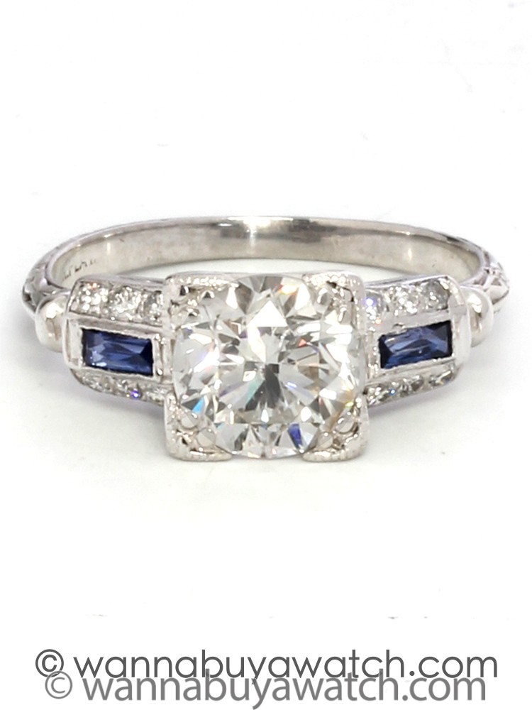 """Platinum """"New Vintage"""" Setting with Sapphires"""