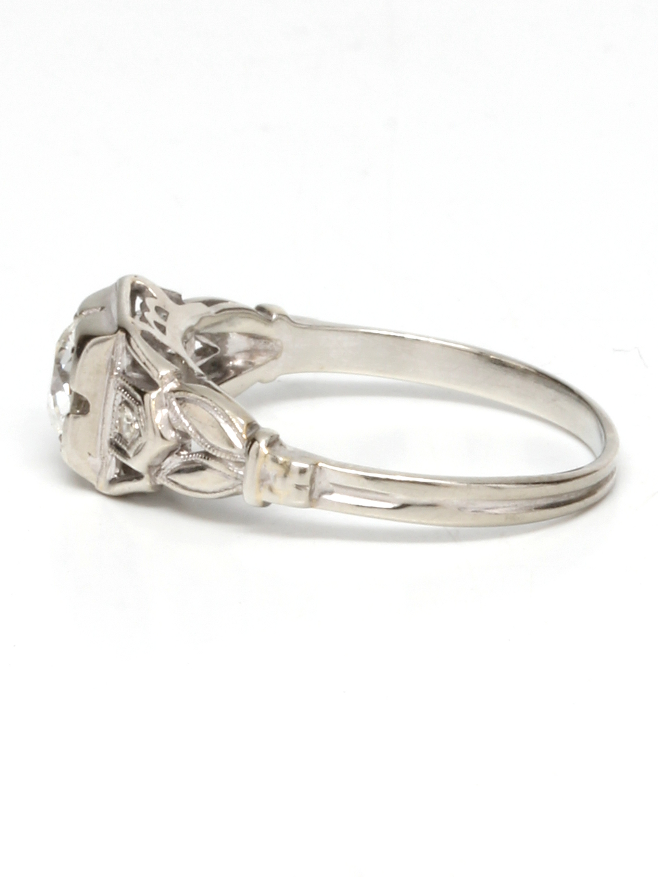 Vintage 18K WG  Diamond Engagement Ring 18K WG 0.50ct I-SI1 1930's
