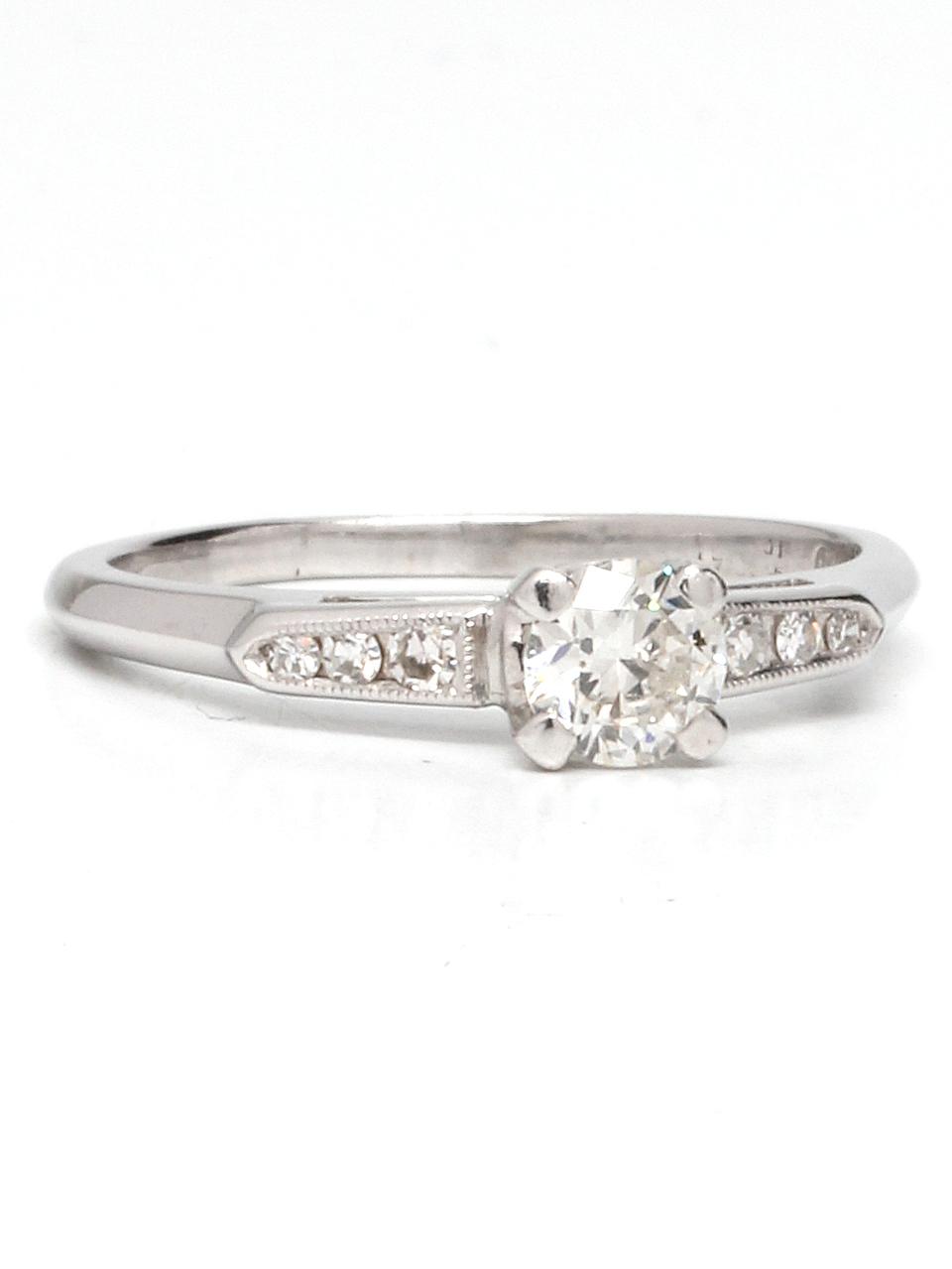 Vintage Platinum Engagement Ring 0.51ct OEC Diamond F-SI1 circa 1930s