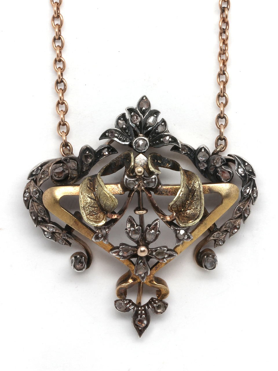 Victorian Pendant Silver, Gold & Rose Cuts