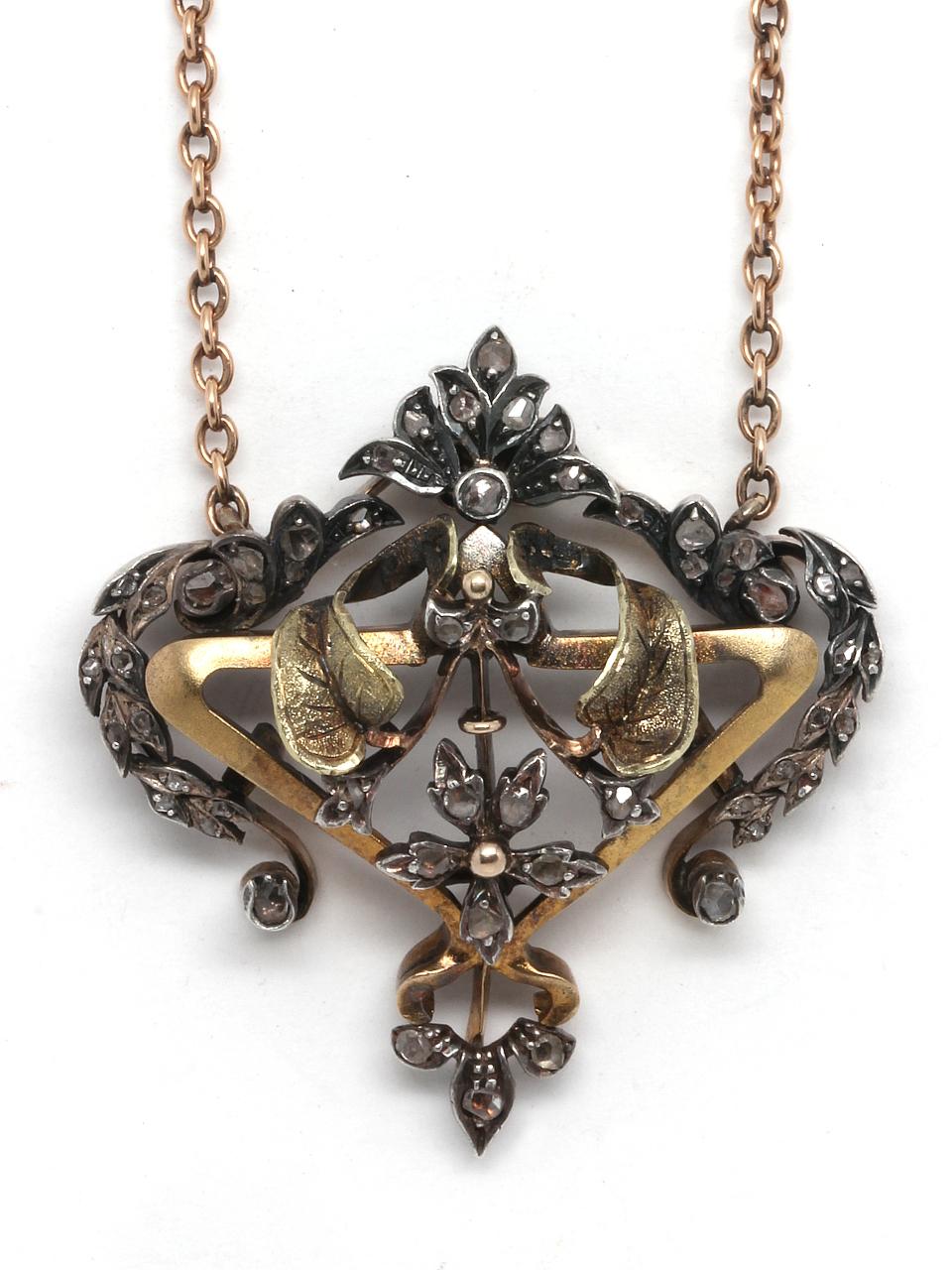 Victorian Pendant Silver, Gold & Rose Cuts