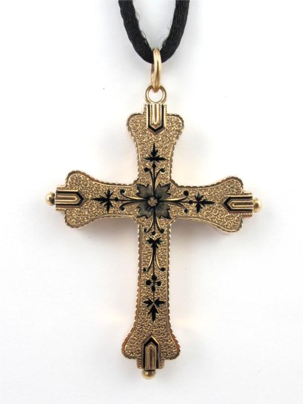 14K Victorian Gold & Enamel Cross