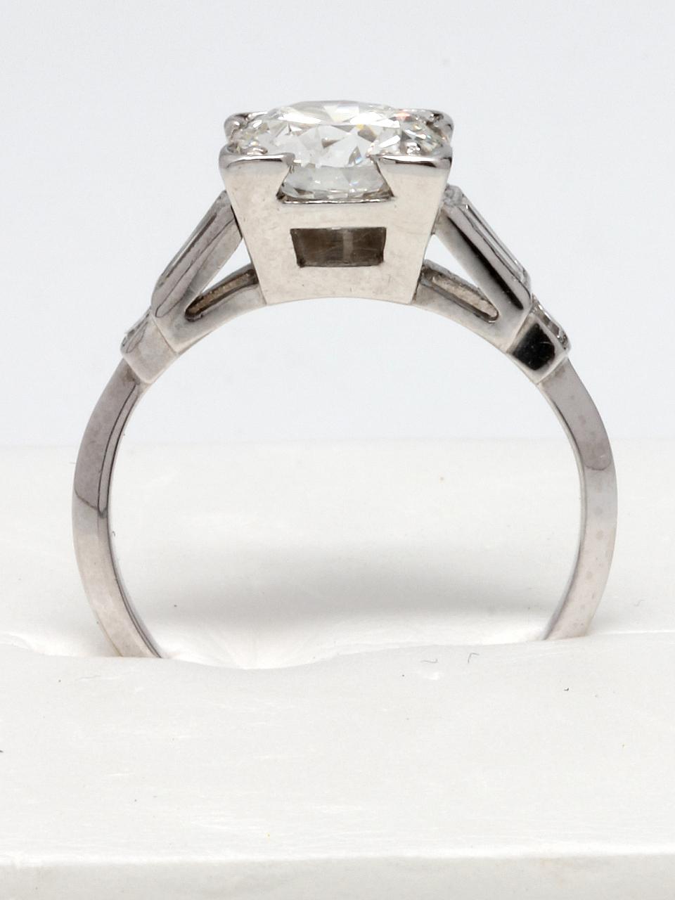 Vintage Engagement Ring Platinum 1.29ct OEC H-VS1 circa 1930s