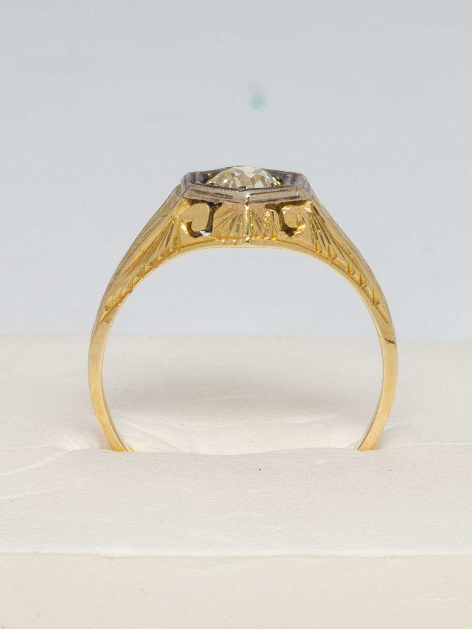 1930's 14K YG Hand Engraved Ring with 0.45ct Diamond