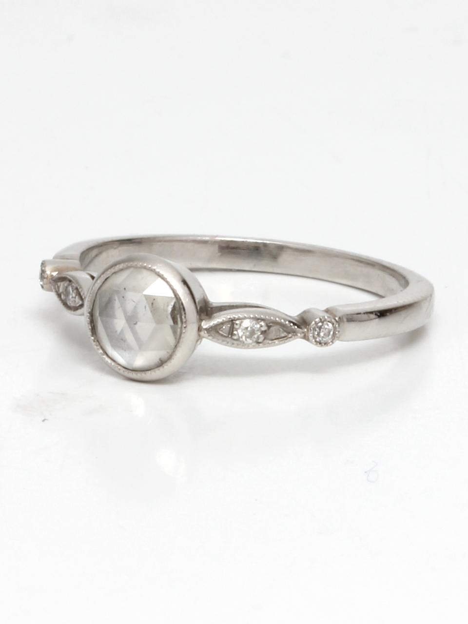 Platinum & Rose Cut Diamond Engagement Ring
