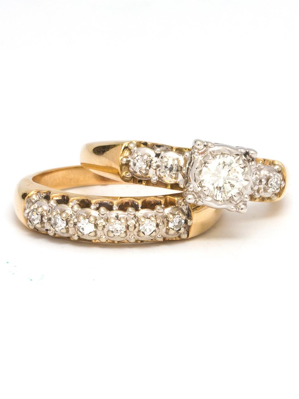 14K YG Diamond Wedding Set 0.25 H VS-2 1950's