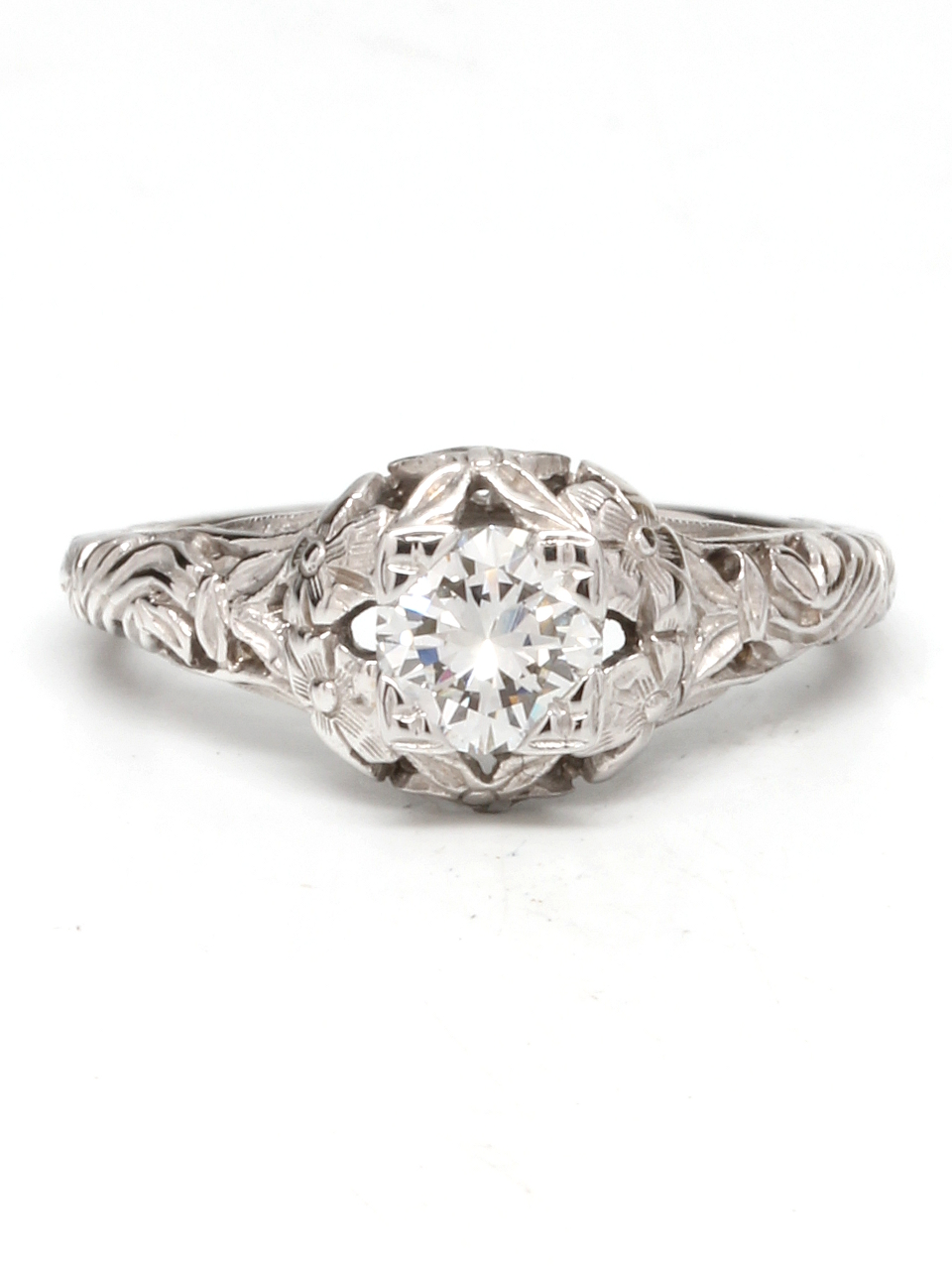 0.53ct Diamond and White Gold Floral Engagement Ring