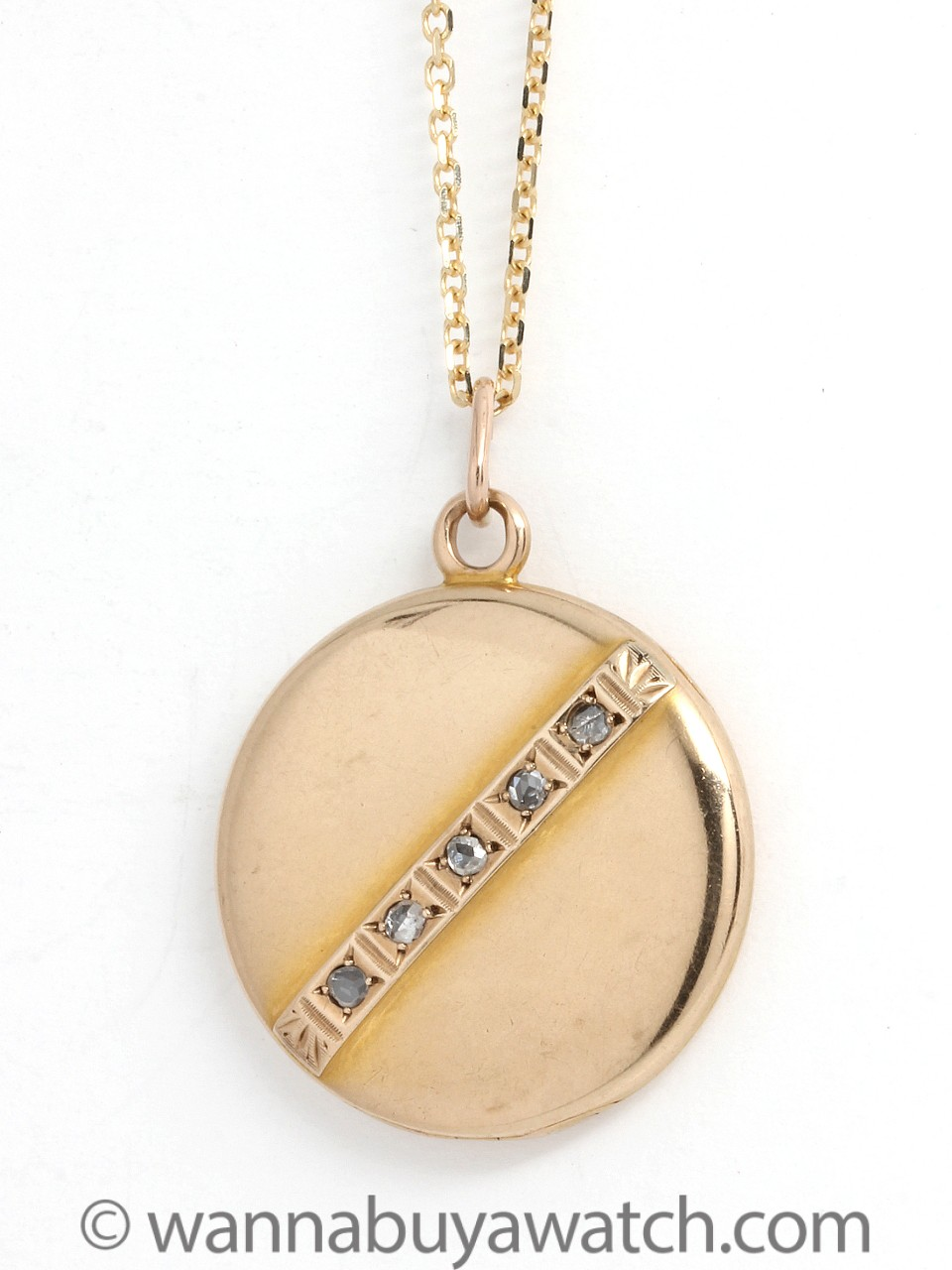 Gold 1900's Locket w/ Rose Cut Diamonds
