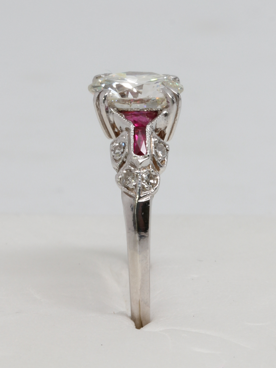 18K White Gold with Ruby Side Stones