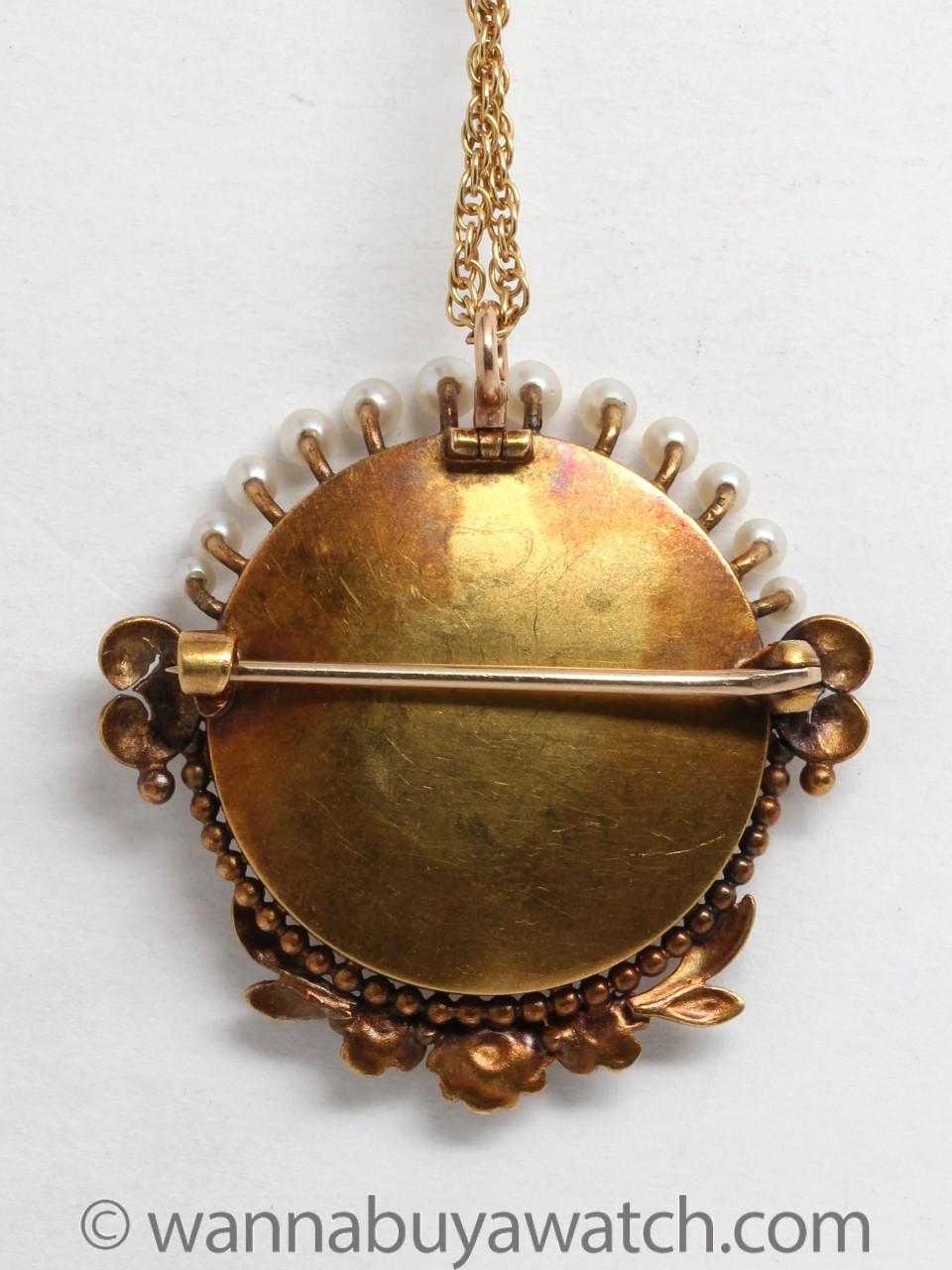 Antique 14K Gold Miniature Portrait Necklace