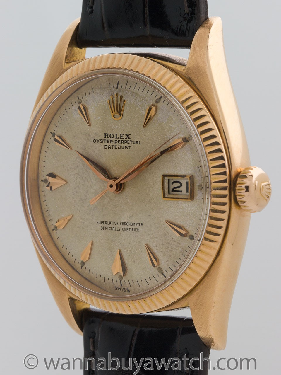 Rolex 18K Rose Gold Datejust ref 6605 circa 1958 Roulette Date Wheel