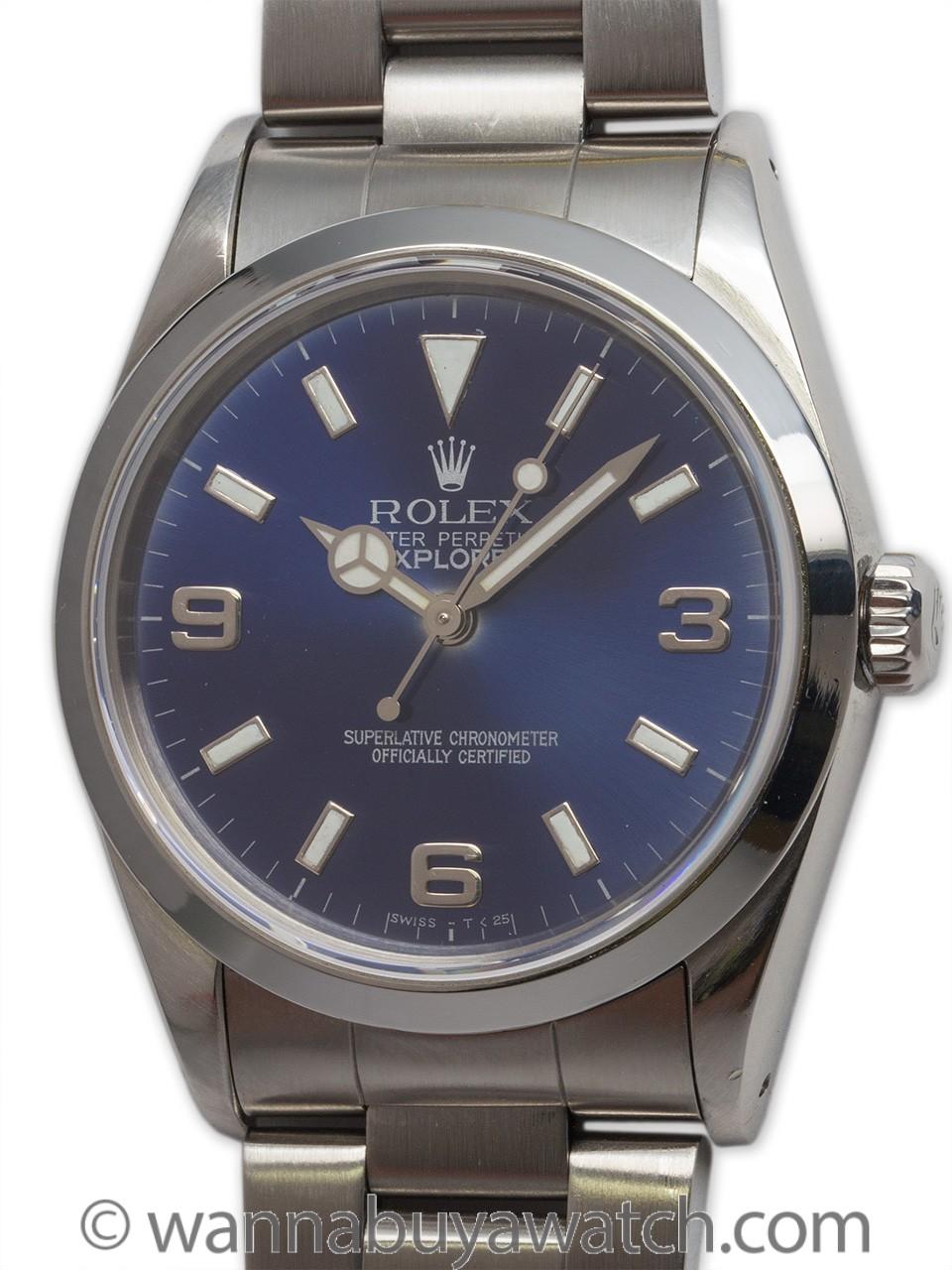 "Rolex SS Explorer 1 ref 14270 ""Sapphire Blue"" circa 1993"