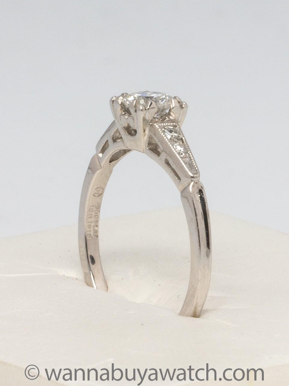 Vintage Platinum Diamond Engagement Ring 0.50ct Transitional Cut G-VS1 circa 1950s