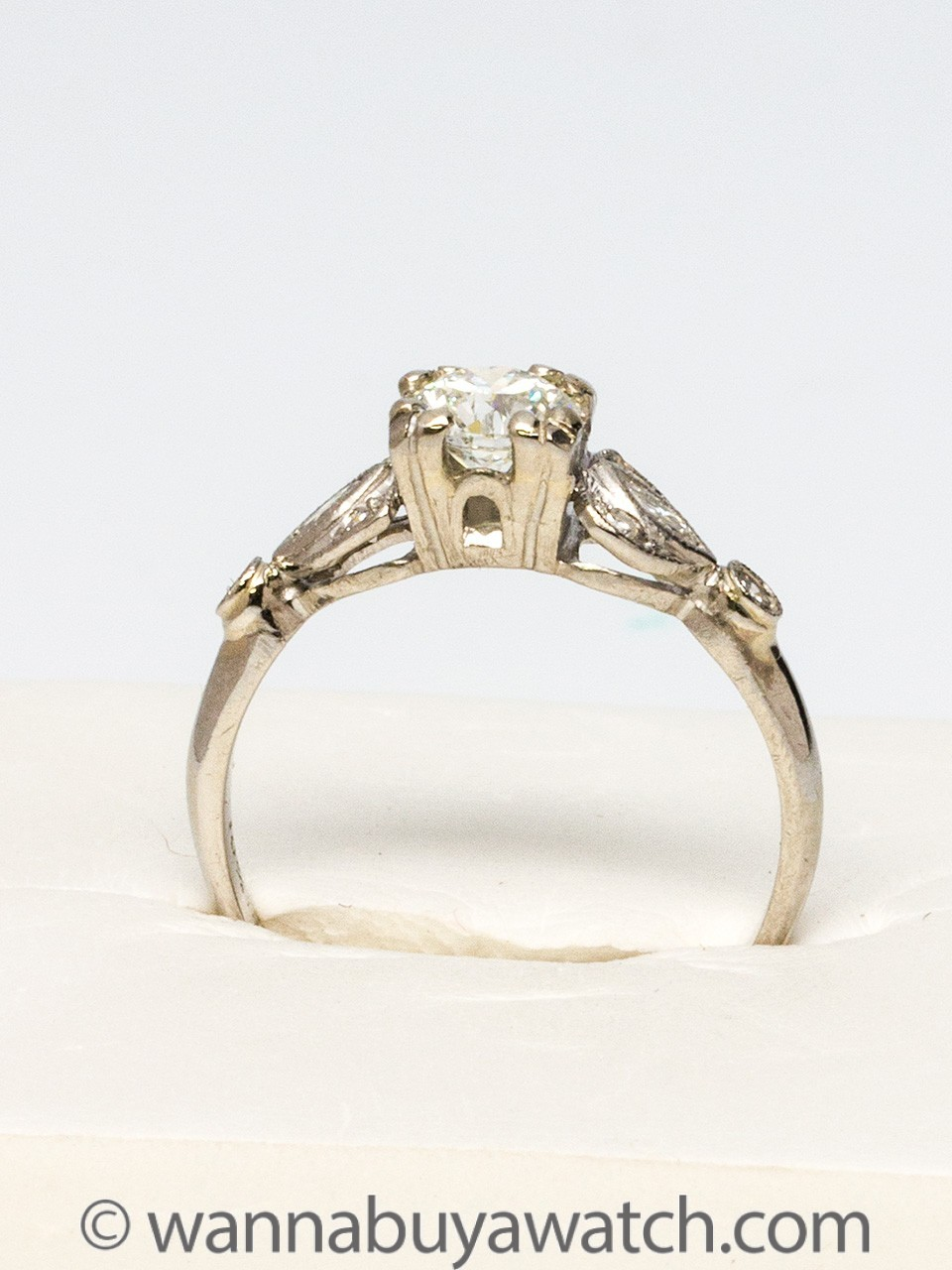 Vintage Platinum Engagement Ring 0.51ct Transition Cut Diamond c.1940s