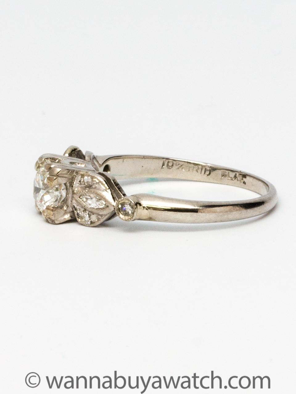 1940's Platinum & 0.51ct Transition Cut Diamond Solitaire