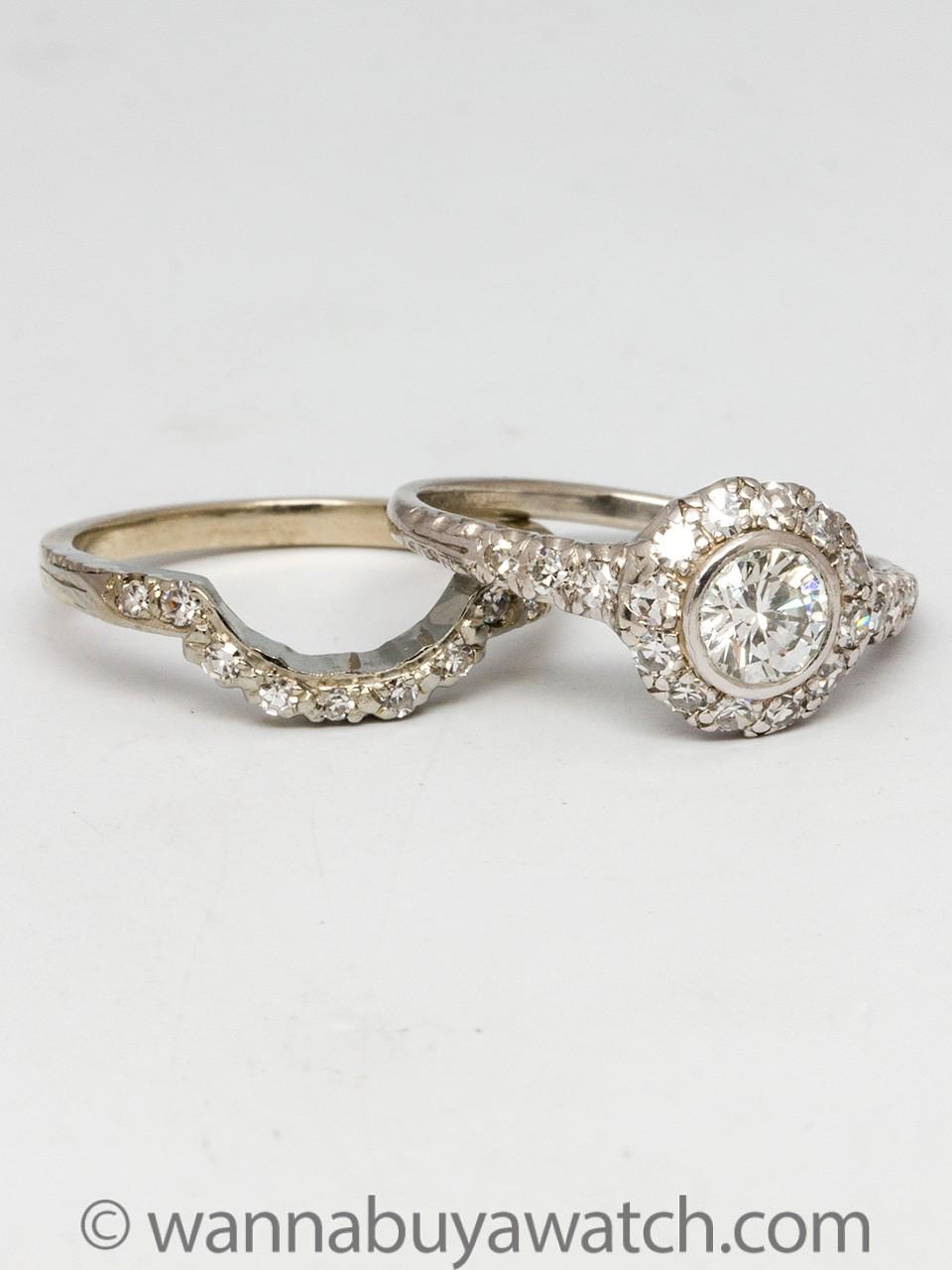 Vintage Platinum Engagement Ring and Band Wedding Set 0.51 Carat D-VS2