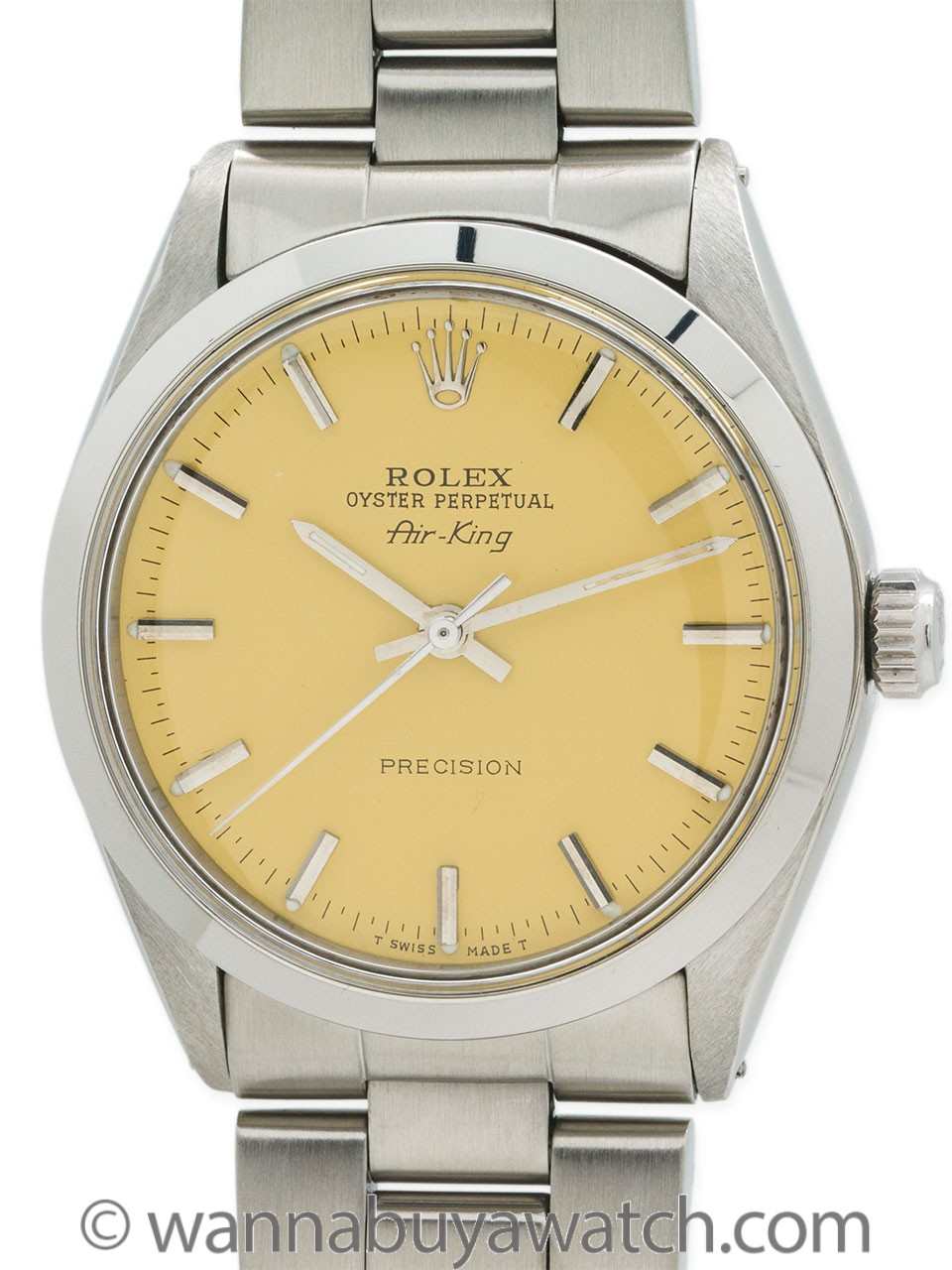 "Rolex SS Airking ref 5500 circa 1977 ""Sunflower Yellow"""