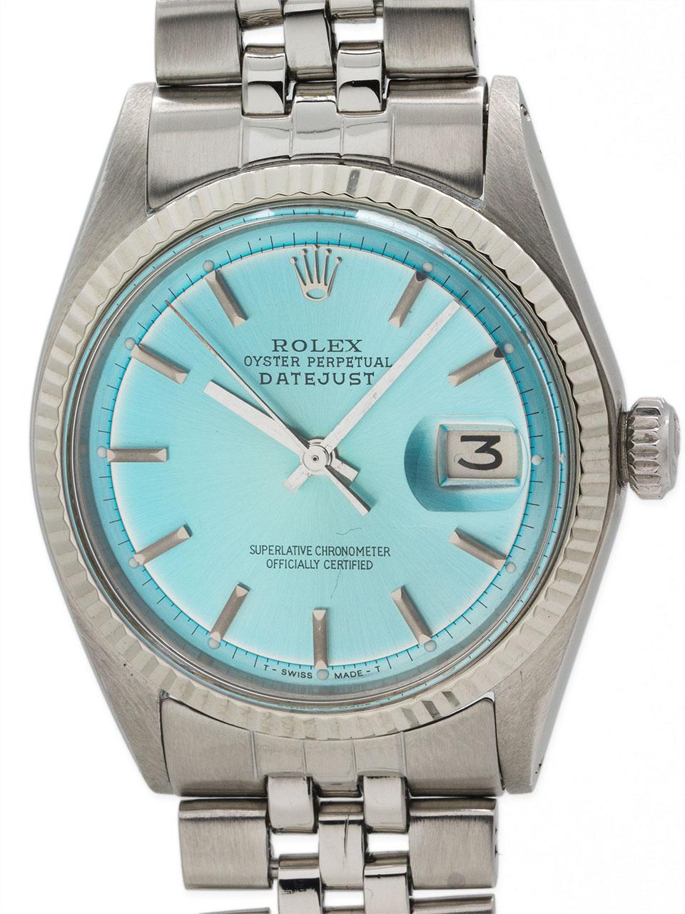 "Rolex SS Datejust ref 1601 ""Iceberg Blue"" circa 1970"