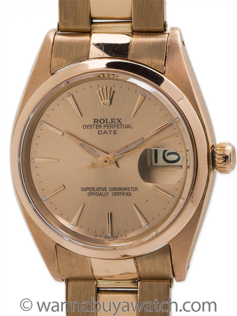 Rolex Oyster Perpetual Date 18K Rose Gold circa 1961