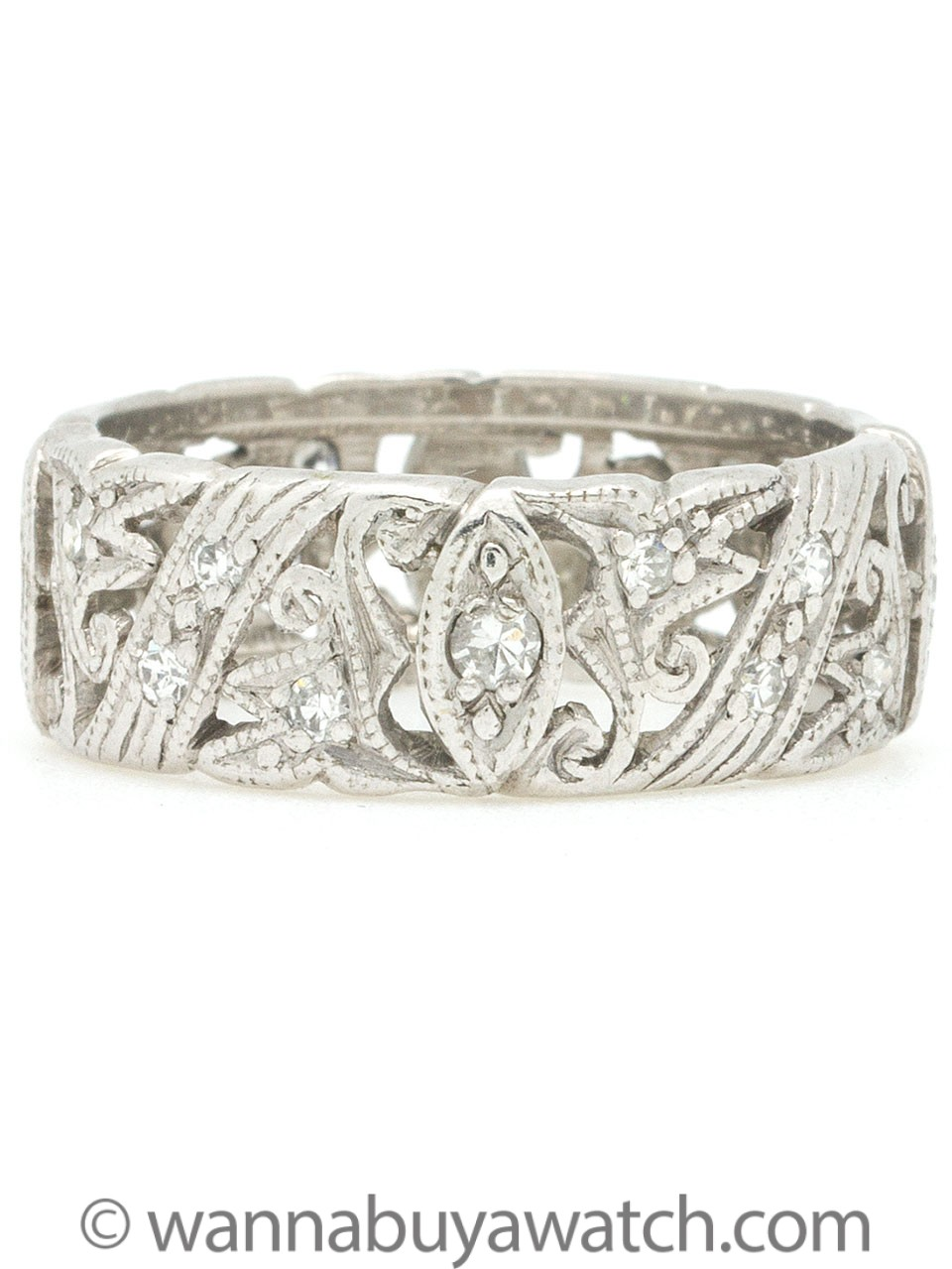 Vintage Platinum & Diamond Wide Band
