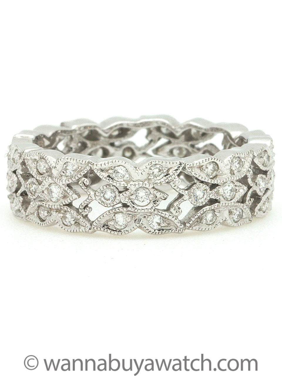 Vintage Style 18k White Gold Wide Diamond Eternity Band 0.38ct circa 2000s