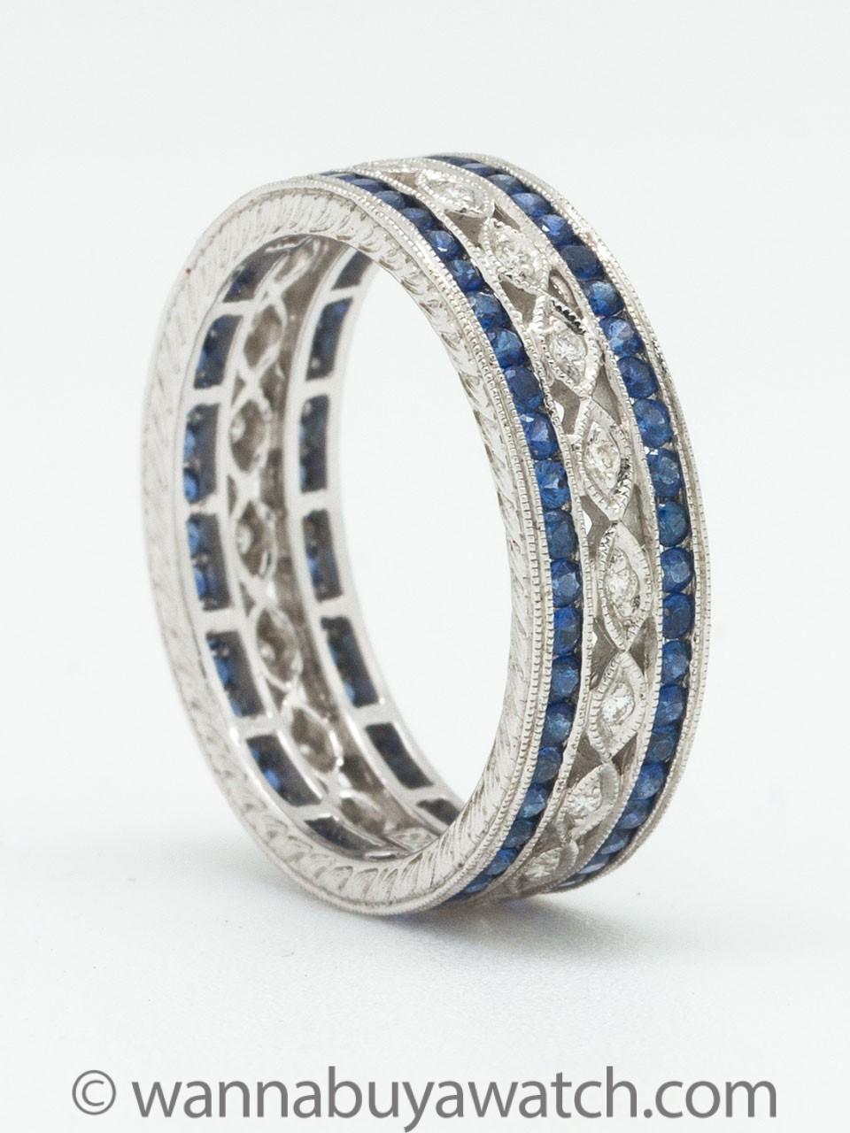 18K White Gold Diamonds & Sapphires