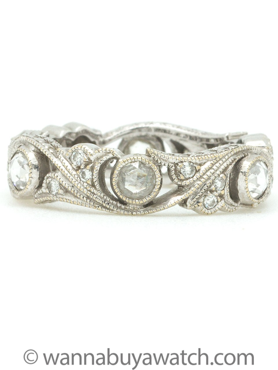 Vintage Style 18K WG Eternity Band with Rose Cut Diamonds 0.60ct circa 2000s