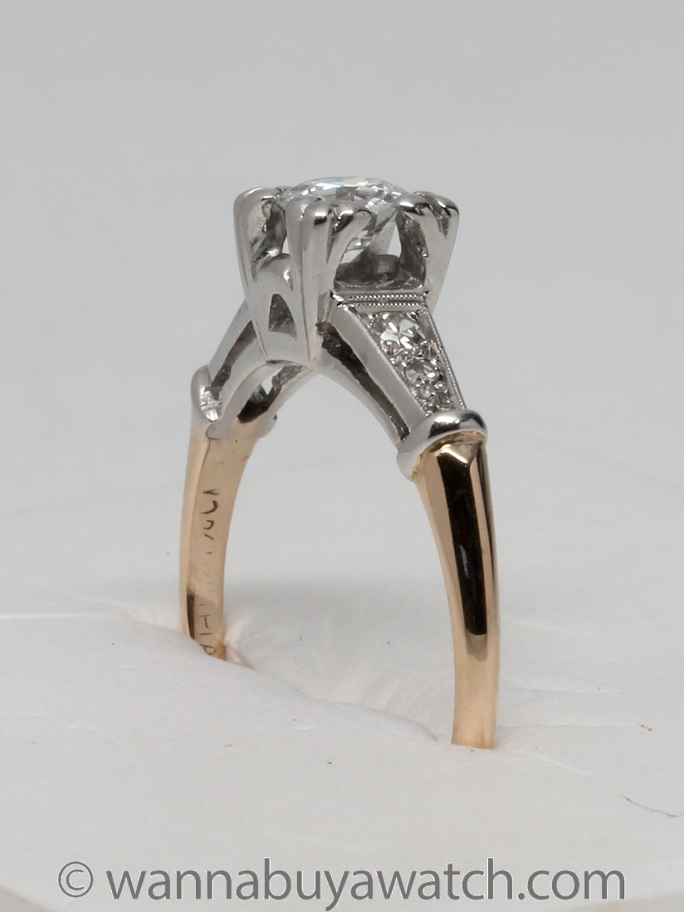 18k Yellow Gold & Platinum O.40ct Diamond Solitaire