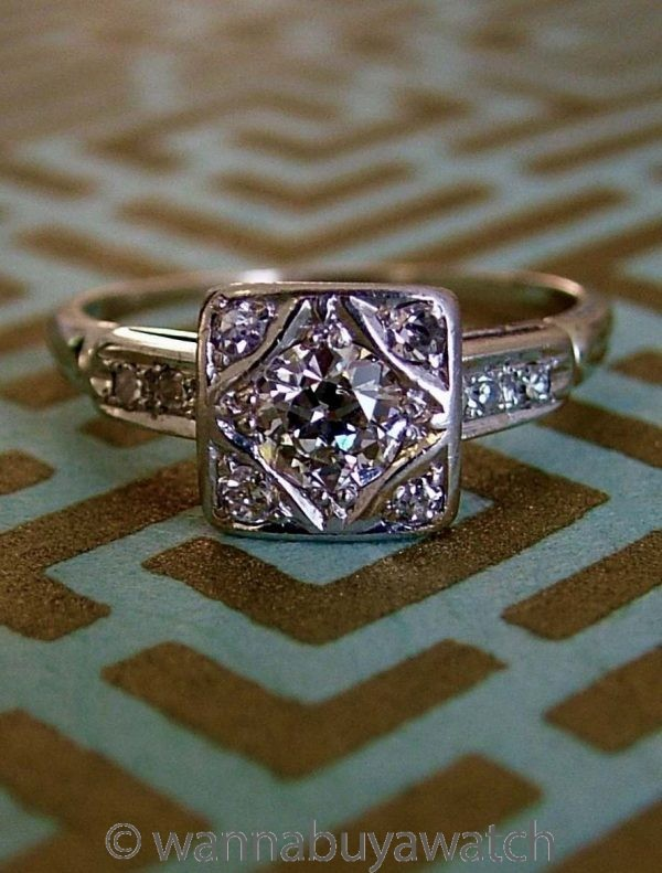 Vintage Art Deco Engagement Ring 14K WG  circa 1930s