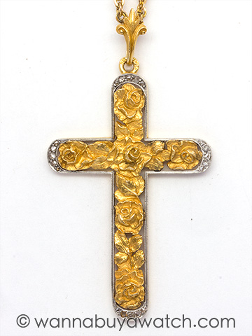 Edwardian 18K Yellow Gold & Platinum Cross with Roses