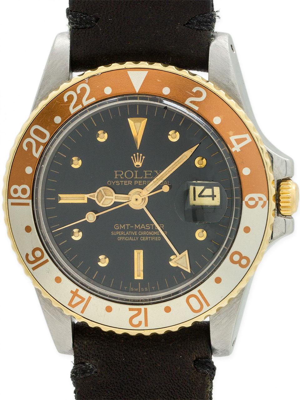 Rolex GMT ref 1675 SS & 14K circa 1978