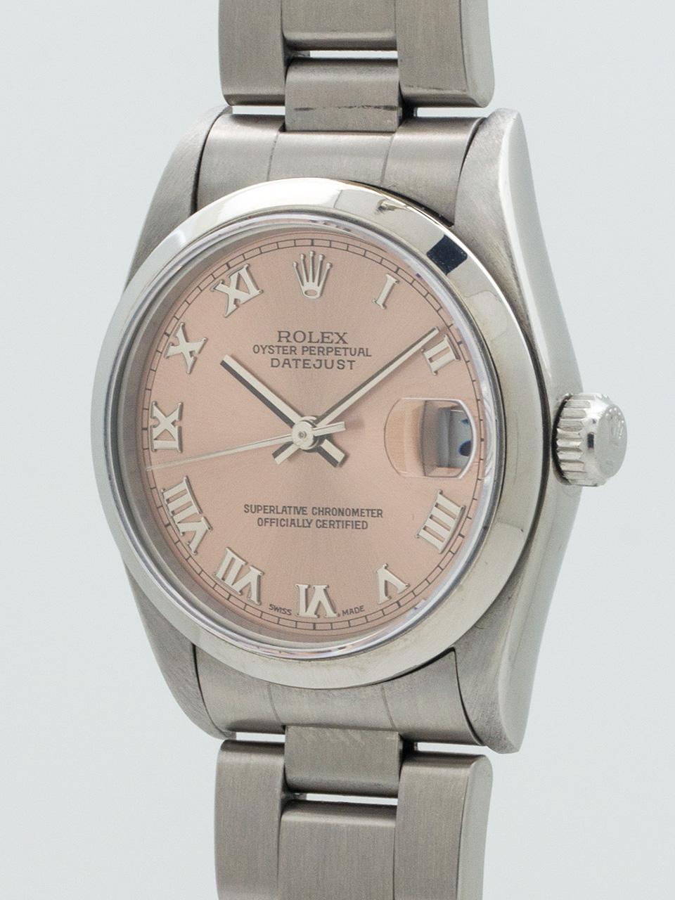 Rolex SS Midsize Datejust Rose Dial circa 2003