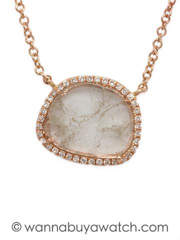 14K Pink Gold & Diamond Slice Micro Pave'