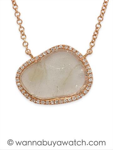 14K Pink Gold & Diamond Slice Necklace