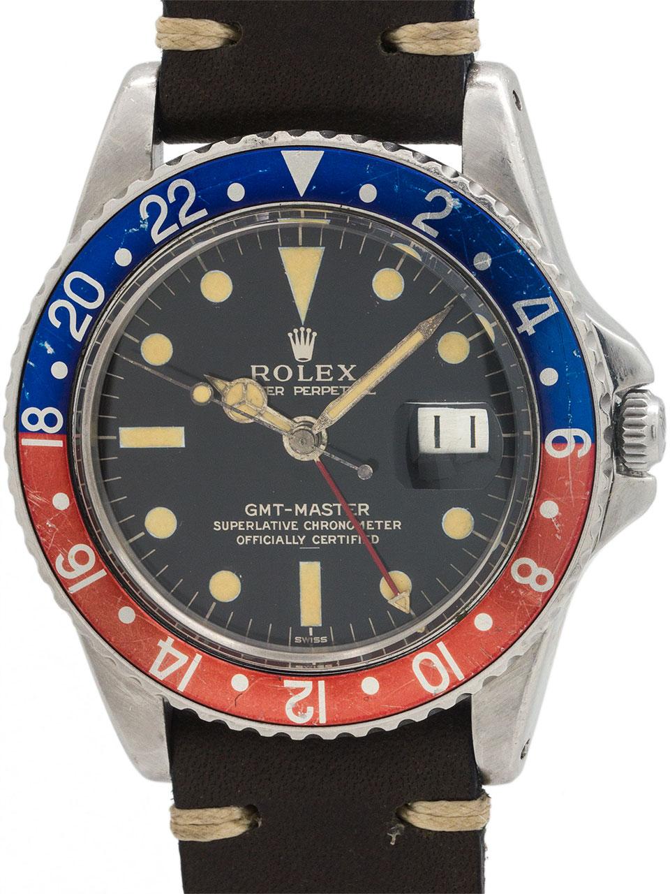 Rolex GMT ref 1675 PCG Gilt Underline Dial circa 1963