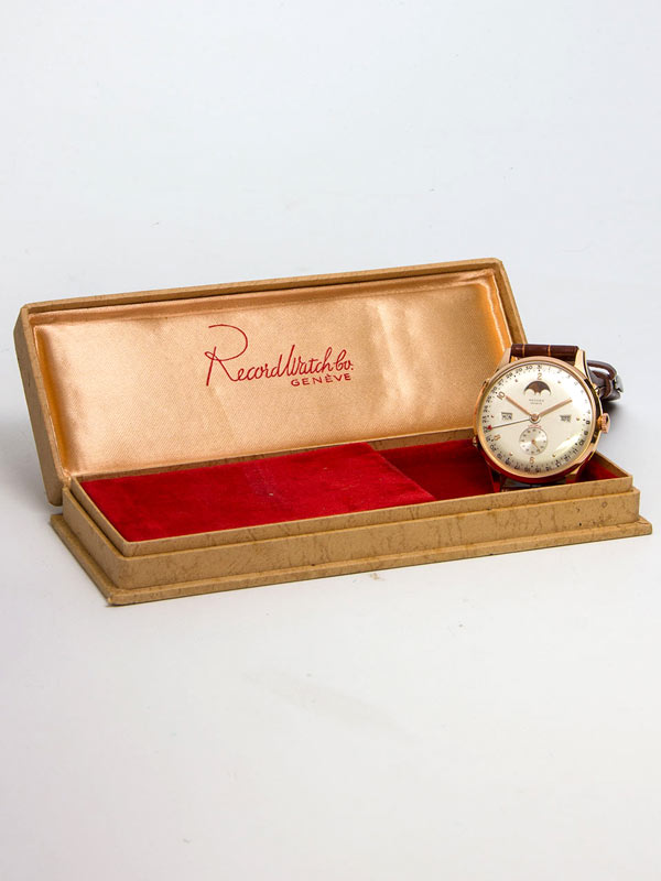 "Record 18K PG ""Datofix"" Moonphase Triple Calendar  circa 1950's with Box"