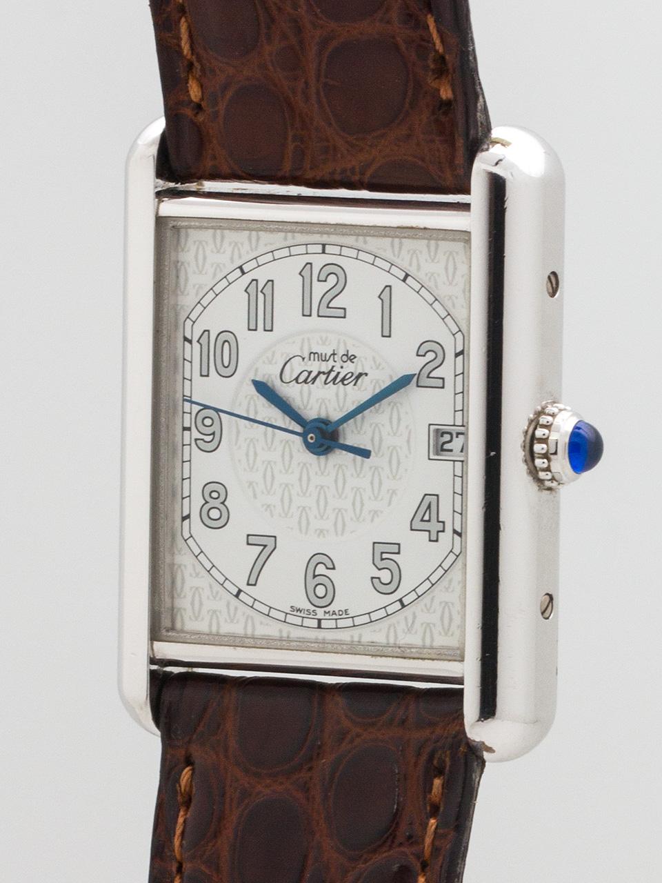 Cartier Man's Silver Tank Louis Must de Cartier circa 2000s