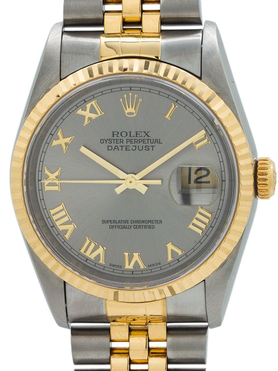 Rolex Datejust ref 16233 SS/18K Roman Rodium circa 1996