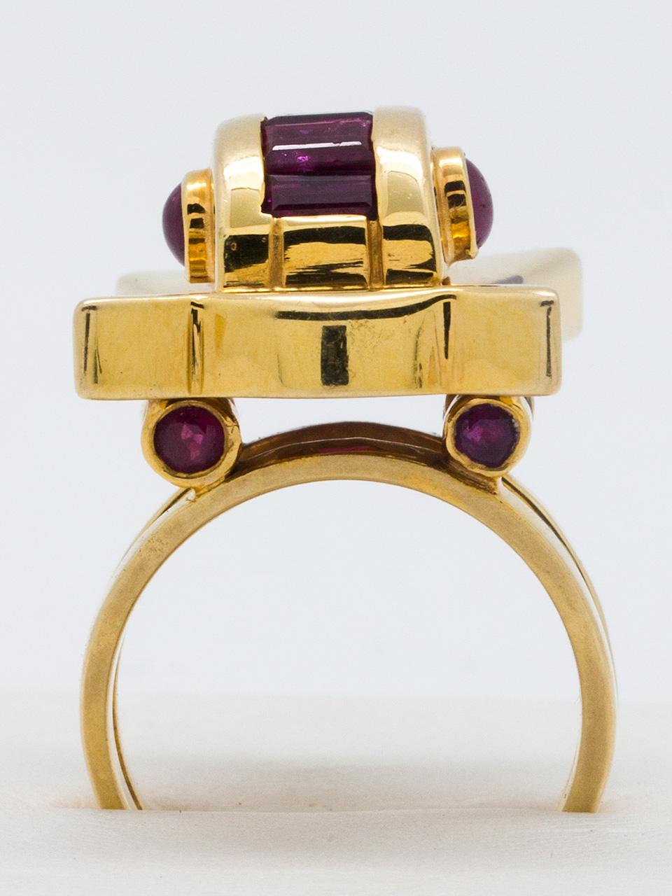 Retro Ruby Ring 14K YG circa 1940's